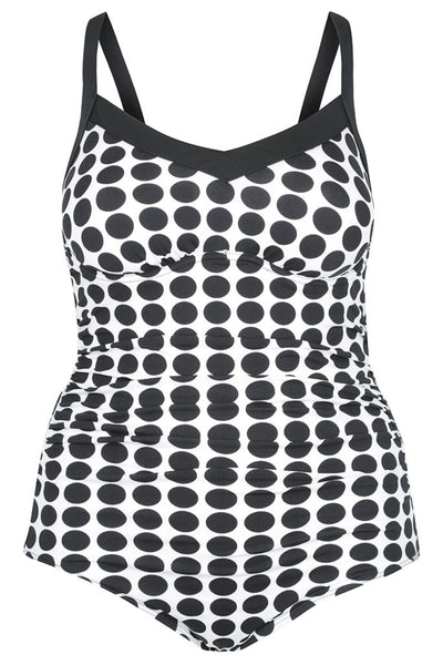 Black & White Dots Underwire One Piece Swimsuit