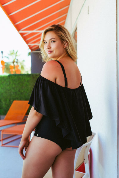 plus size off the shoulder bathing suit