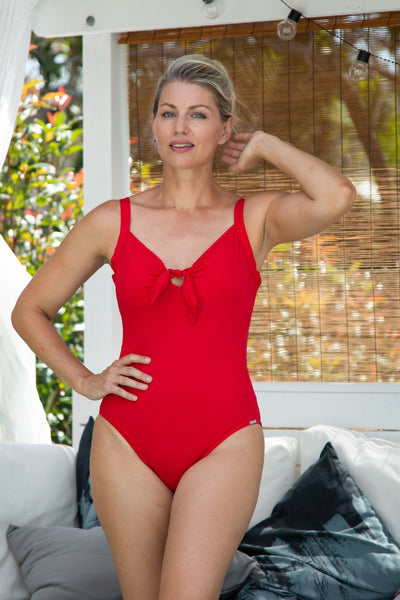 Chlorine Resistant Red One Piece with Bow