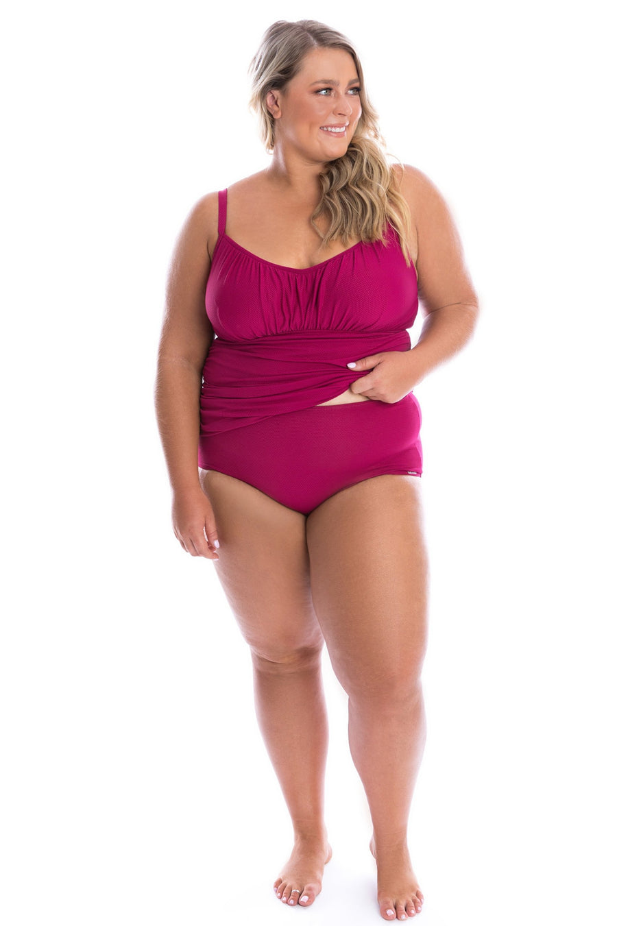 Plum Honey Comb Underwire Tankini Top