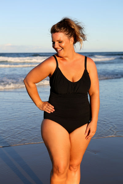 black one piece swimsuit plus size