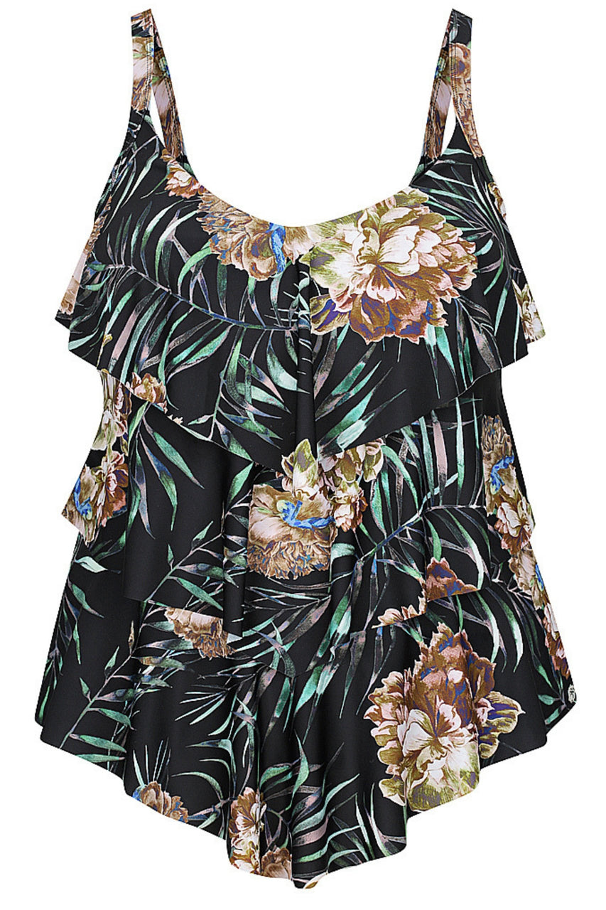 Black Blossom 3 Tier Tankini Top