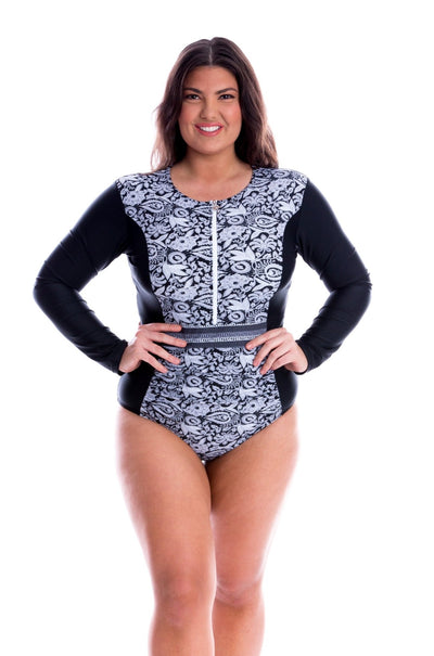 long sleeve one piece swimsuit plus size