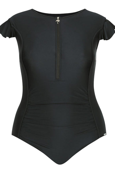 Black Frill Sleeve One Piece Swimsuit