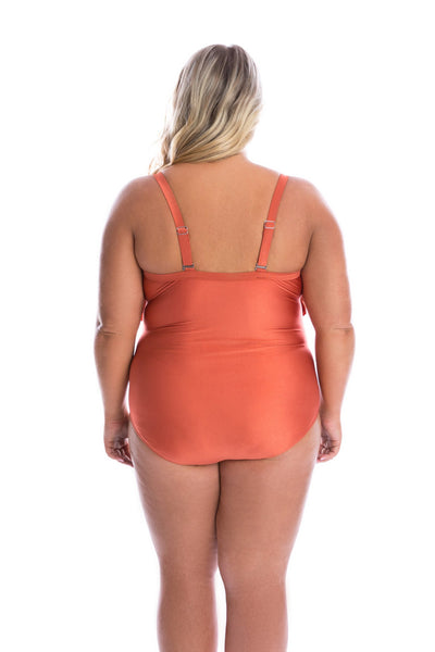 Rust Tiered Ruffles One Piece
