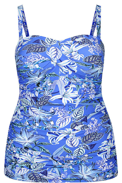 Twist Bandeau Tankini Top Hawaii Blue