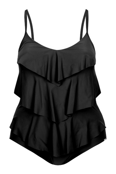 Black Tiered Ruffle One Piece Swimsuit