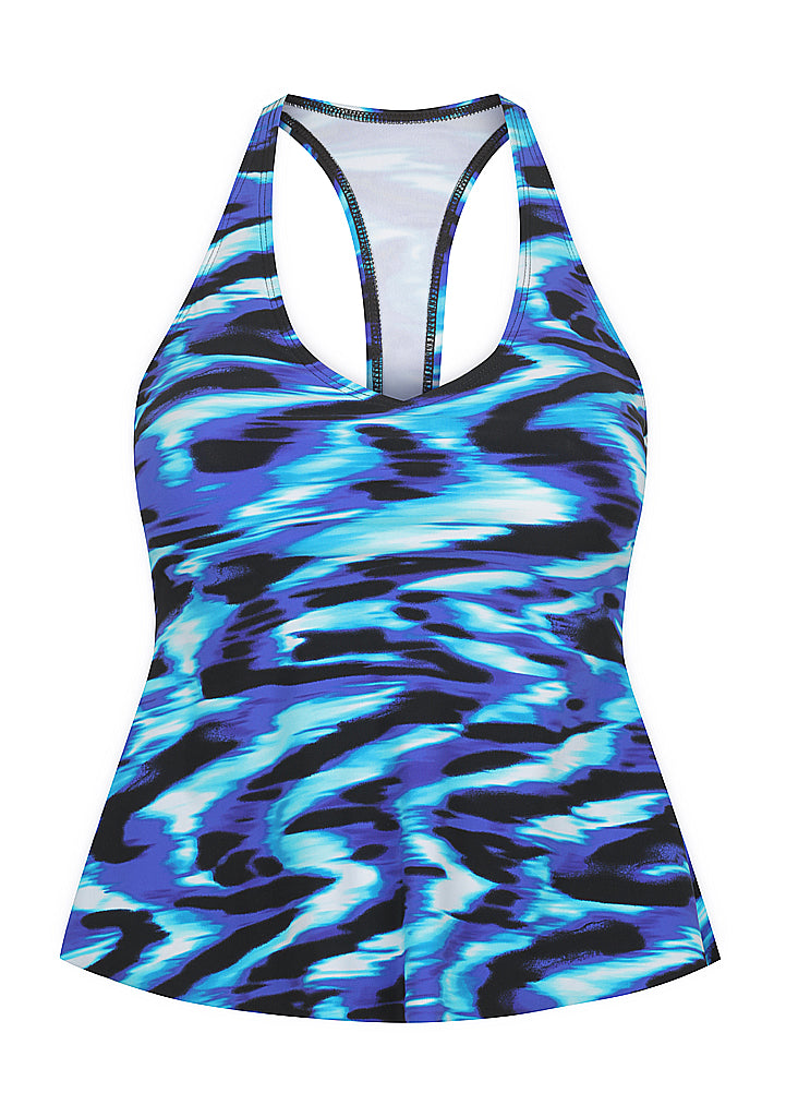 Blue Illusion T-Back Tankini Top