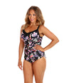 Underwire One Piece Swimwear Black Tropics