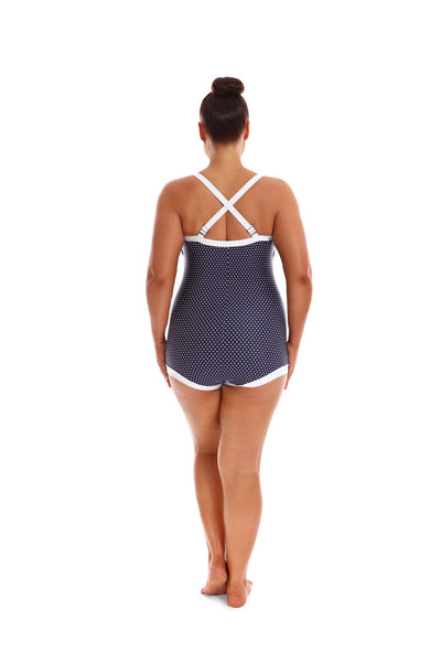 Womens Plus Size Swimsuit Navy & White Dots Boyleg One Piece with Bow