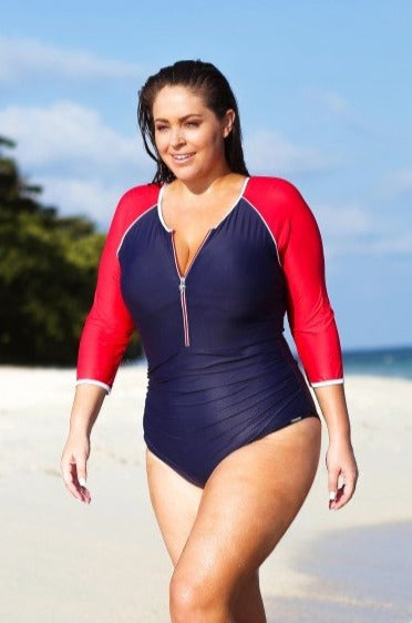 Chlorine Resistant Luxe Sport One Piece Swimsuit with 3/4 Sleeve