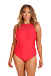 Luxe Sport Red Mesh Tank One Piece