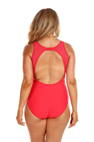 Luxe Sport Red Mesh One Piece Swim Suit
