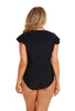 It's All About Black Frill Sleeve Zip Front One Piece Swimsuit