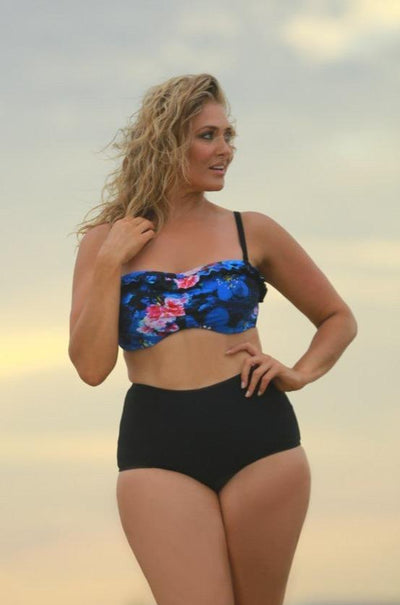 black high waisted swim bottoms