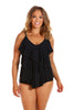 It's All About Black 3 Tier Tankini Top Swimsuit