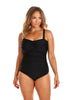 Plain Black Twist Front One Piece Swimsuit