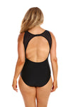 black mesh one piece swimsuit