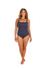 Chlorine Resistant Navy & White Dots Tank One Piece Swimsuit