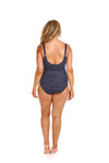 Navy & White Polkadots Chlorine Resistant Tank One Piece Swimsuit