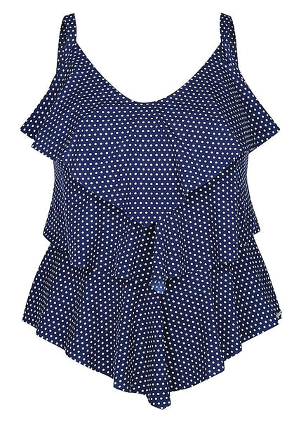 Chlorine Resistant Navy and White Dots 3 Tier Tankini Top