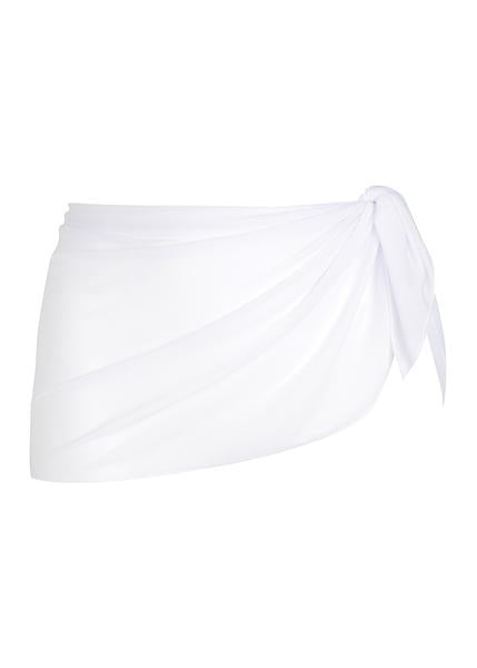 Mesh Short Tie Skirt in White