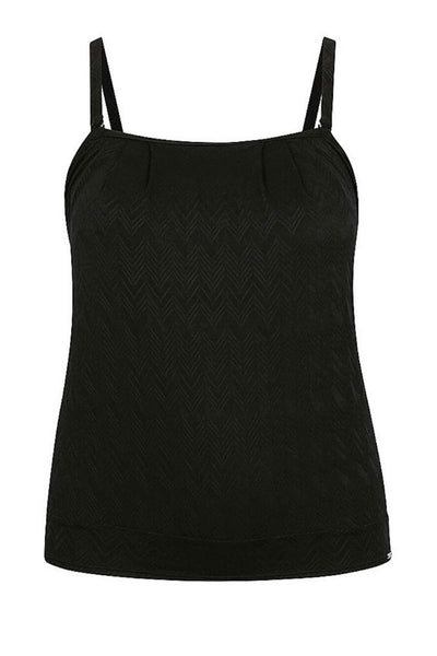 Textured Black Flouncy Bandeau Tankini Top