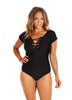 Black Short Sleeve Tie One Piece Swimwear