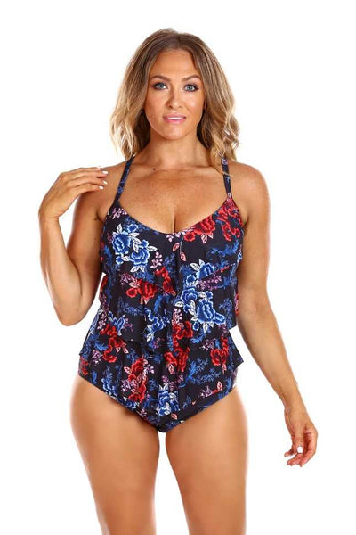 red white and blue plus size bathing suit