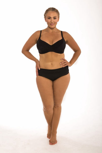 Plain Black Rollover Pant Swimwear