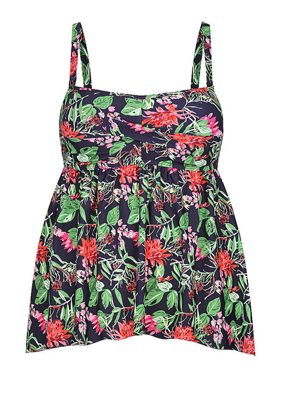 Navy Floral Swing Tankini Top