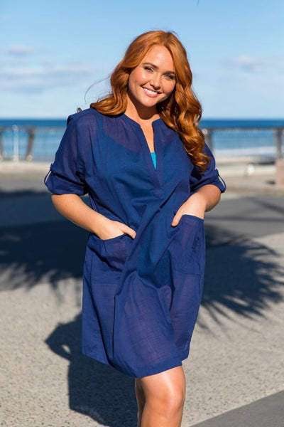 Beach Cover Up Navy