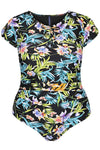 Tropical Tahiti Short Sleeve Tie One Piece