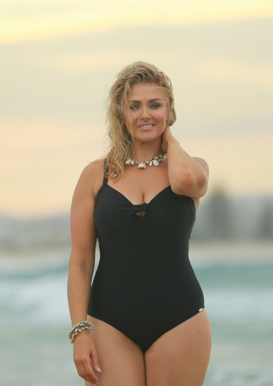 b5592a087b441 Chlorine Resistant Plain Black One Piece With Bow Swimsuit – Curvy ...