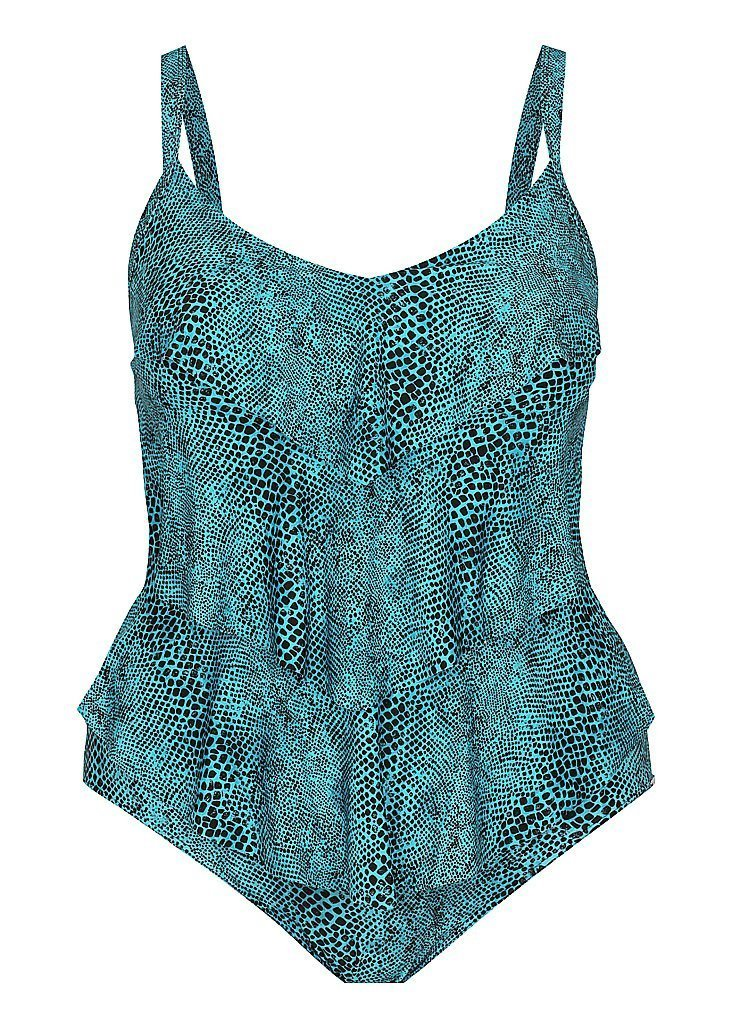 Plus Size Turquoise Snake 3 Tier One Piece Swimwear