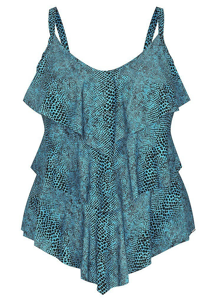 Plus Size Turquoise Snake 3 Tier Tankini Top Swimwear