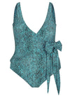 Plus Size Turquoise Snake Waist Tie Wrap One Piece Swimwear