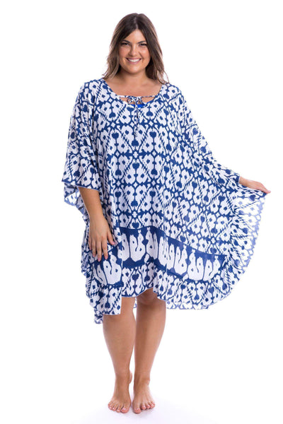 Full Moon Kaftan Plus Size Navy