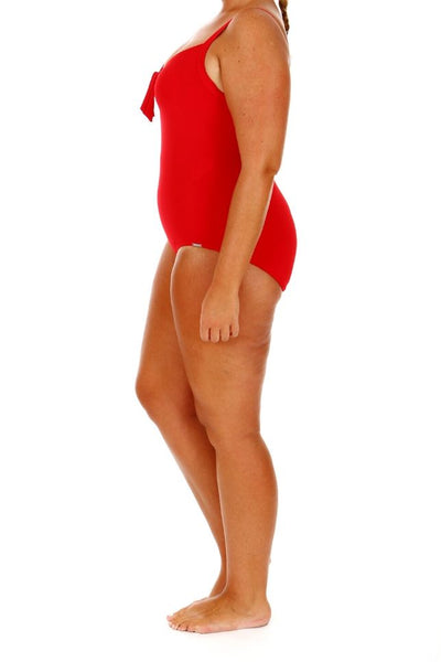 red one piece swimsuit plus size