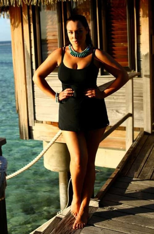 Chlorine Resistant Plain Black Swim Dress Swimsuit