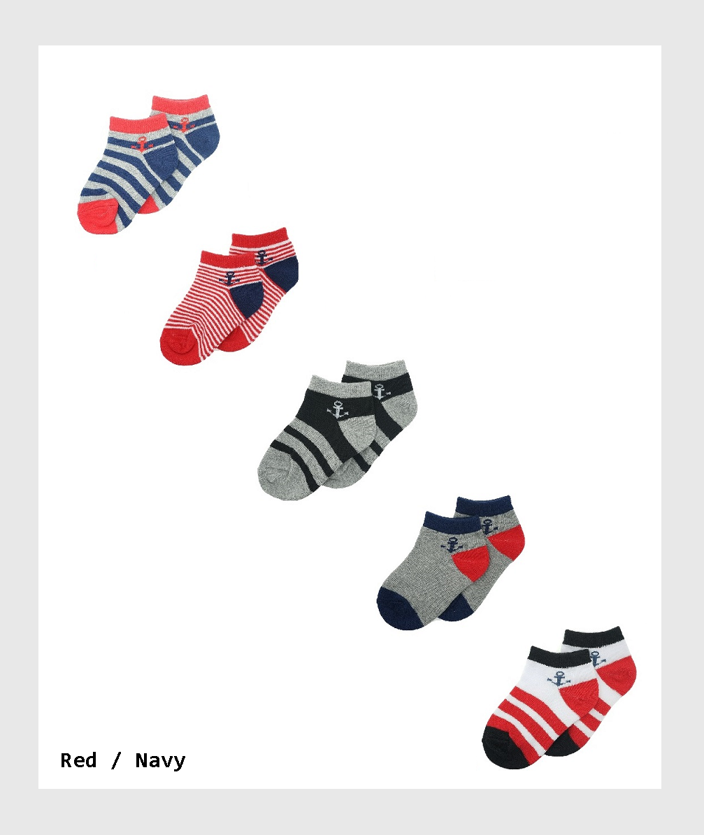 SF2-BA005KS - 5 Pairs Ankle Socks  for Toddler  Boys  and Girls /5對學步男孩和女孩的踝襪