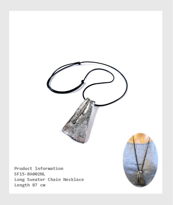SF15-BA002NL -Long Sweater Chain Necklace Length 87 cm/ 87 厘米長項鍊配簡約金屬吊墜