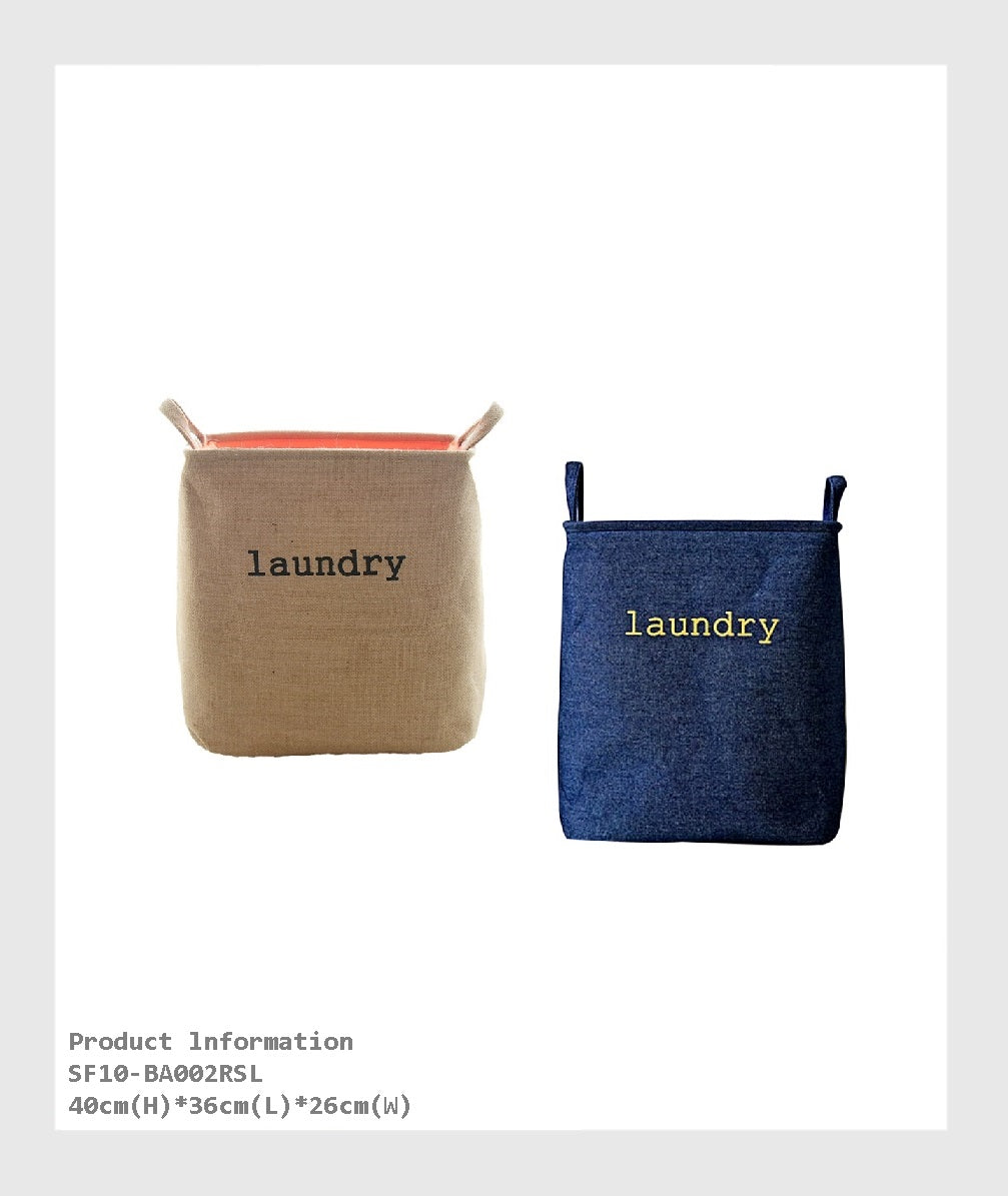 SF10-BA002RSL -  Large Sized Waterproof Foldable Canvas Laundry Basket for organize and Clothing Storage for Home. easy folded flat for when not in use, lightweight and durable./大型防水可折疊帆布洗衣籃