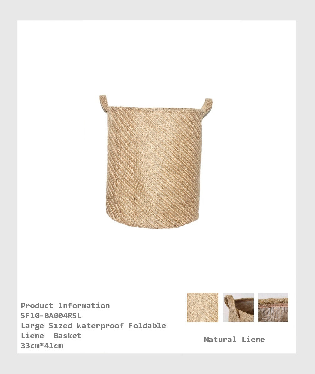 SF10-BA004RSL - Large Sized Waterproof Foldable Linen Basket for organize and  Storage for Home. easy folded flat for when not in use, lightweight and durable./大型防水可折疊亞麻籃