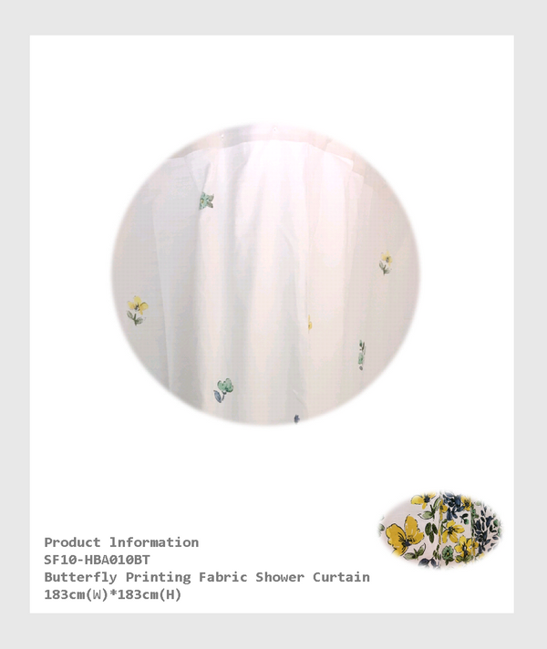 SF10-HBA010BT - Butterfly Printing  Fabric Shower Curtain/蝴蝶印花布淋浴簾