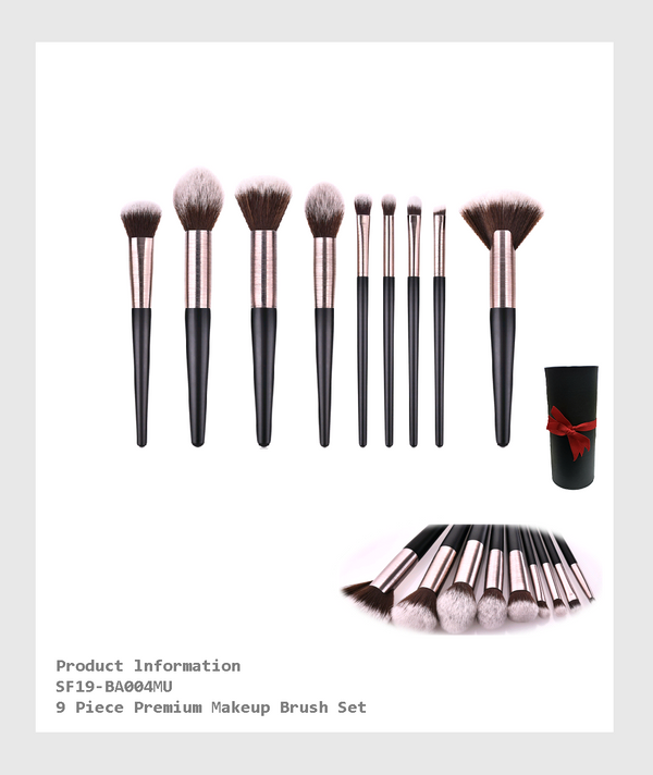 SF19-BA004MU - 9 Piece Premium Makeup Brush Set/9支裝高級化妝刷套裝