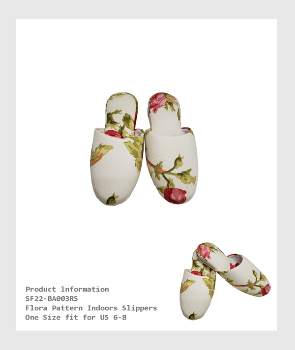 SF22-BA003RS - Flora Pattern  Indoors Slippers/花朵圖案室內拖鞋