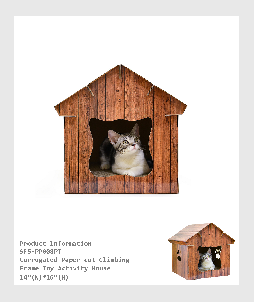 SF5-PP008PT -  Corrugated Paper cat Climbing Frame Toy Activity House /瓦楞紙貓爬架玩具活動房