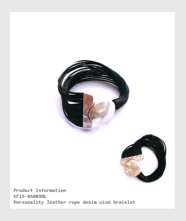 SF15-BA003NL - Personality leather rope denim wind bracelet/個性皮革繩牛仔風手鍊