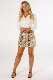 The Sunset Snakeskin Mini Skirt